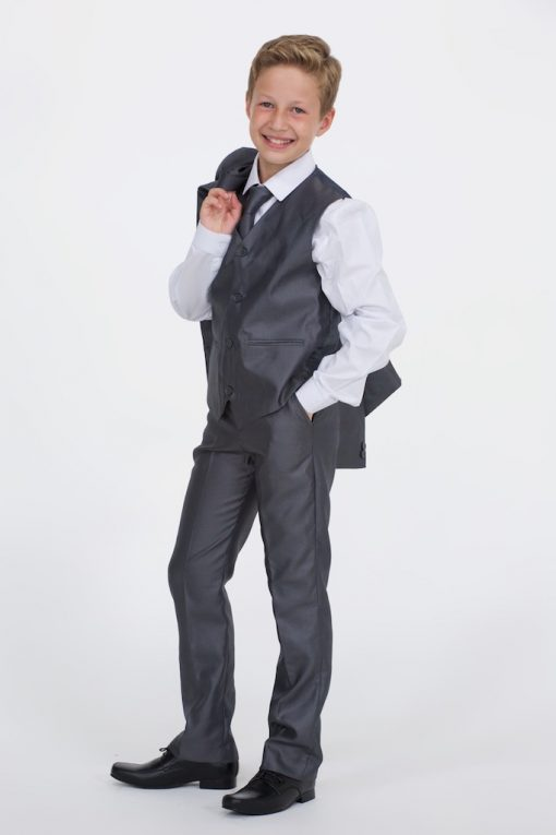 Boys Shiny Grey Suit