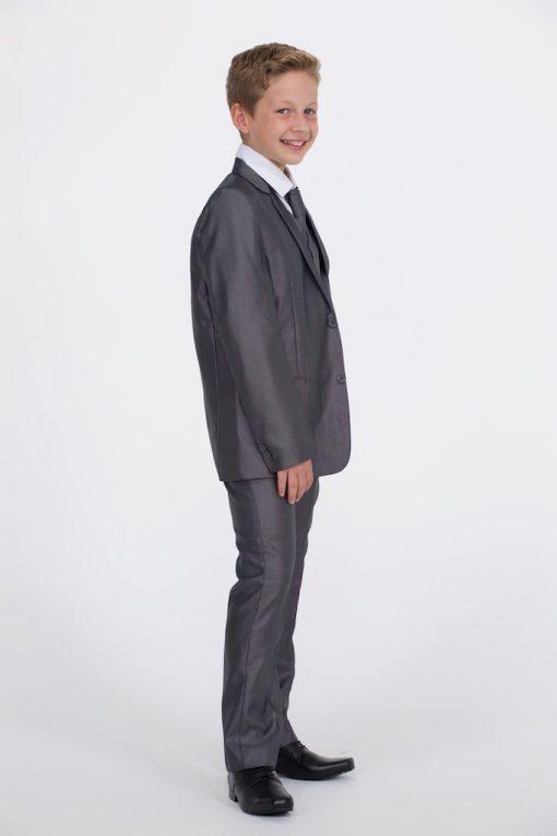 shiny grey suit